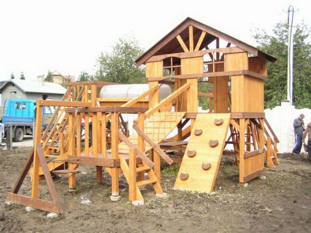 Детская площадка своими руками фото из дерева